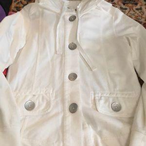 White prana button up sweatshirt size small. Comfy